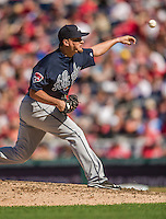 6 April 2014: Atlanta Braves pitcher Luis Avilan on the mound against the Washington Nationals at Nationals Park in Washington, DC. The Nationals defeated the Braves 2-1 to salvage the last game of their 3-game series. Mandatory Credit: Ed Wolfstein Photo *** RAW (NEF) Image File Available ***