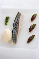Europe/France/Bretagne/56/Morbihan/Lorient: Maquereau à la rhubarbe, sorbet céleri-citron, recette de  Jean-Paul Abadie, restaurant: L'Amphytrion