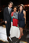 """Alex Timbers, Bahiyah Hibah and Jill Abramovitz during the Broadway Opening Night Legacy Robe Ceremony honoring Bahiyah Hibah for  """"Moulin Rouge! The Musical"""" at the Al Hirschfeld Theatre on July 25,2019 in New York City."""