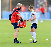 HOUSTON, TX - JUNE 10: Becky Sauerbrunn #4 of the United States takes a water break before a game between Portugal and USWNT at BBVA Stadium on June 10, 2021 in Houston, Texas.