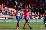 Atletico de Madrid's Dolores Isabel Jacome (L) and Carmen Menayo (R) during Liga Iberdrola match between Atletico de Madrid and FC Barcelona at Wanda Metropolitano Stadium in Madrid, Spain. March 17, 2019. (ALTERPHOTOS/A. Perez Meca)