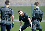 St Johnstone Training…29.03.19<br />Zander Clark pictured during training this morning at McDiarmid Park with fellow keepers Ross Sinclair and Jack Wills ahead of tomorrow's trip to Motherwell.<br />Copyright Perthshire Picture Agency<br />Tel: 01738 623350  Mobile: 07990 594431