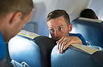 St Johnstone UEFA Cup Qualifyer, Armenia...30.06.15<br /> Steven MacLean talks with Steven Anderon on the flight over to Armenia<br /> Picture by Graeme Hart.<br /> Copyright Perthshire Picture Agency<br /> Tel: 01738 623350  Mobile: 07990 594431