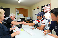 Denzel Ieremia after signing his scorecard. Charles Tour, Christies Mt Maunganui Open, Mt Maunganui Golf Club, Tauranga, New Zealand. Sunday 15 December 2019. Photo: Simon Watts/www.bwmedia.co.nz/NZGolf