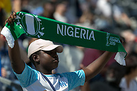 GRENOBLE, FRANCE - JUNE 22: WWC 2019 Nigeria fan during a game between Nigeria and Germany at Stade des Alpes on June 22, 2019 in Grenoble, France.