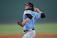 Starting pitcher Tyler Phillips (32) of the Hickory Crawdads delivers a pitch during a game against the Greenville Drive on Monday, August 20, 2018, at Fluor Field at the West End in Greenville, South Carolina. Hickory won, 11-2. (Tom Priddy/Four Seam Images)