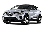 Stock pictures of low aggressive front three quarter view of a 2020 Renault Captur Initiale Paris 5 Door SUV