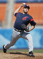 Danys Baez of the Cleveland Indians pitches during a 2002 MLB season game against the Los Angeles Dodgers at Dodger Stadium, in Los Angeles, California. (Larry Goren/Four Seam Images)
