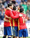 Spain's Alvaro Morata, Nolito, Hector Bellerin and Pedro Rodriguez celebrate goal during friendly match. June 1,2016.(ALTERPHOTOS/Acero)