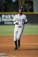Adrian Rondon (3) of the Princeton Rays rounds the bases after hitting a home run against the Burlington Royals at Burlington Athletic Stadium on June 24, 2016 in Burlington, North Carolina.  The Rays defeated the Royals 16-2.  (Brian Westerholt/Four Seam Images)