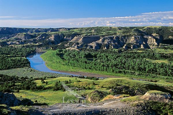 Little Missouri River flows  through thee Northern Unit of Theodore Roosevelt National Park, North Dakota June.