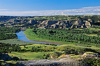 Little Missouri River flows  through thee Northern Unit of Theodore Roosevelt National Park, North Dakota June.