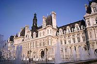 Water fountains outside the Hôtel de Ville, Paris, France.