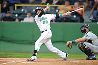 Jack Reinheimer #29 of the Clinton LumberKings swings against the West Michigan Whitecaps at Ashford University Field on July  25, 2014 in Clinton, Iowa. The Whitecaps won 9-0.   (Dennis Hubbard/Four Seam Images)
