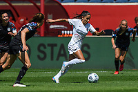 BRIDGEVIEW, IL - JUNE 5: Debinha #10 of the North Carolina Courage dribbles the ball during a game between North Carolina Courage and Chicago Red Stars at SeatGeek Stadium on June 5, 2021 in Bridgeview, Illinois.