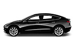 Car driver side profile view of a 2018 Tesla Model 3 Long Range 4 Door Sedan