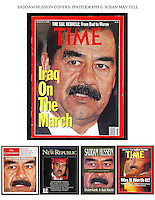 Saddam Hussein - close-up portraits in the Middle-East including looking into the camera