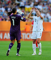 Hope Solo (l) and Chrisite Rampone of team USA celebrate during the FIFA Women's World Cup at the FIFA Stadium in Dresden, Germany on June 28th, 2011.