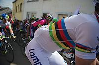 2013 World Champion Rui Costa (POR/Lampre-Merida)up the Côte de Saint-Roche<br /> <br /> Liège-Bastogne-Liège 2014