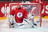 22nd May 2021, Riga Olympic Sports Centre Latvia; 2021 IIHF Ice hockey, Eishockey World Championship, Great Britain versus Russia;  goalkeeper Ivan Bocharov Russia in action covering the net
