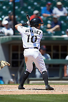 Eddy Alvarez (10) of the Charlotte Knights at bat against the Gwinnett Stripers at BB&T BallPark on May 2, 2018 in Charlotte, North Carolina.  The Knights defeated the Stripers 6-5.  (Brian Westerholt/Four Seam Images)