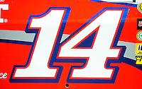 Feb 07, 2009; Daytona Beach, FL, USA; Detail view of the number on the car of NASCAR Sprint Cup Series driver Tony Stewart during practice for the Daytona 500 at Daytona International Speedway. Mandatory Credit: Mark J. Rebilas-