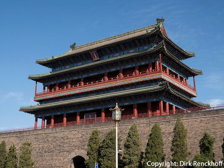 QianMen-Tor in Peking,  China, Asien<br /> QianMen Gate in Beijing, China, Asia