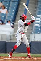 Clearwater Threshers Jiwan James #23 at bat during a game against the Tampa Yankees at Steinbrenner Field on June 22, 2011 in Tampa, Florida.  The game was suspended due to rain in the 10th inning with a score of 2-2.  (Mike Janes/Four Seam Images)