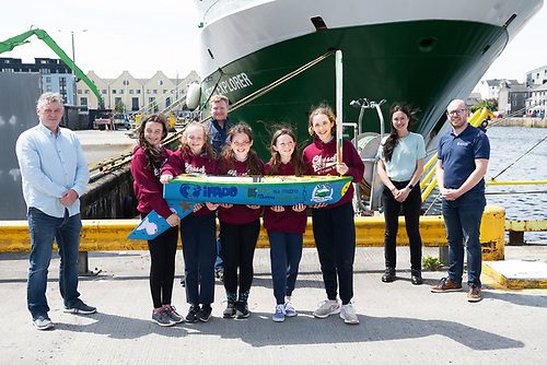 Peter Kane, teacher with Padraic Creedon of the Explorers Education Programme, Christine Loughlin, Marine Institute and Kieran Reilly, Marine Institute with 6th class students (from the same pod) Rosie Dolan, Olivia Cotton, Ruby Glynn, Naomi Faulkner, Sophie Kelly from Kilglass National School in Co Galway delivered their 1.5 metre unmanned mini sailboat called 'Seoltóir Na Gaillimhe – the Galway Sailor' to the Marine Institute's research vessel, RV Celtic Explorer, in Galway Harbour. Marine Institute scientists will deploy the mini-boat from the RV Celtic Explorer into the Atlantic Ocean, near the M6 Weather Buoy, during the Atlantic In-situ Marine Scientific Infrastructure Replacement survey