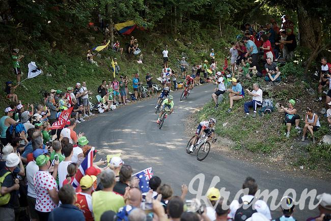 race leaders coming down the  Grand Colombier (HC/1501m/12.8km/6.8%): Jarlinson Pantano (COL/IAM), Rafal Majka (POL/Tinkoff), Julian Alaphilippe (FRA/Etixx-QuickStep) & Ilnur Zakarin (RUS/Katusha)<br /> <br /> stage 15: Bourg-en-Bresse to Culoz (160km)<br /> 103rd Tour de France 2016