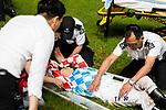 Jockey Ben So Tik-hung who rodeTelecom Man lies injured after fell of his horse during Hong Kong Racing at Happy Valley Racecourse on July 04, 2018 in Hong Kong, Hong Kong. Photo by Marcio Rodrigo Machado / Power Sport Images