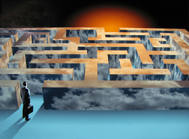 Man entering maze mapped w/ clouds
