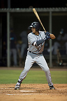 AZL Padres 1 right fielder Agustin Ruiz (24) at bat during an Arizona League game against the AZL Cubs 1 at Sloan Park on July 5, 2018 in Mesa, Arizona. The AZL Cubs 1 defeated the AZL Padres 1 3-1. (Zachary Lucy/Four Seam Images)