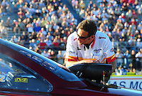 Sept. 23, 2011; Ennis, TX, USA: NHRA crew chief Aaron Brooks for funny car driver Melanie Troxel during qualifying for the Fall Nationals at the Texas Motorplex. Mandatory Credit: Mark J. Rebilas-