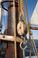 Lines and Turnbuckle,  on the Historic Tall Ship, A.J. Meerwald, Delaware Bay, Cumberland County, New Jersey