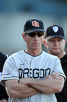 Pat Casey #5, Head Coach of the Oregon State Beavers, before game against the UCLA Bruins at Jackie Robinson Stadium in Los Angeles,California on April 29, 2011. Photo by Larry Goren/Four Seam Images
