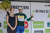Piet Allegaert (BEL/Sport Vlaanderen Baloise) on podium as final winner of the Combativity Classification.<br /> <br /> Binckbank Tour 2017 (UCI World Tour)<br /> Stage 7: Essen (BE) > Geraardsbergen (BE) 191km