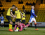 Livi keeper Marc McCallum saves from Nicky Law