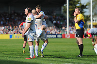 Exeter celebrate securing a home semi-final asThomas Waldrom of Exeter Chiefs kicks the ball into touch a the end of the match during the Aviva Premiership match between Harlequins and Exeter Chiefs at The Twickenham Stoop on Saturday 7th May 2016 (Photo: Rob Munro/Stewart Communications)