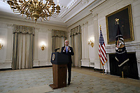 United States President Joe Biden replies to questions from reporters after remarks on the economic recovery in the State Dining Room at the White House in Washington, DC on July 19, 2021. <br /> CAP/MPI/RS<br /> ©RS/MPI/Capital Pictures
