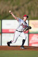 Danville Braves starting pitcher Connor Johnstone (48) in action against the Elizabethton Twins at American Legion Post 325 Field on July 1, 2017 in Danville, Virginia.  The Twins defeated the Braves 7-4.  (Brian Westerholt/Four Seam Images)