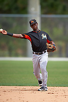 Miami Marlins Samuel Castro (10) during practice before a minor league Spring Training intrasquad game on March 31, 2016 at Roger Dean Sports Complex in Jupiter, Florida.  (Mike Janes/Four Seam Images)