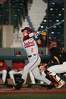 Jack Klein (2) of the Stanford Cardinal bats against the Southern California Trojans at Dedeaux Field on April 6, 2017 in Los Angeles, California. Southern California defeated Stanford, 7-5. (Larry Goren/Four Seam Images)