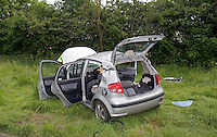 The remains of a Seat Car following collision with an HGV..©shoutpictures.com..john@shoutpictures.com