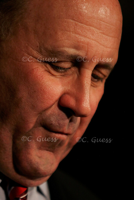 Wisconsin governor Jim Doyle momentarily reflects during his re-election victory party Nov. 7, 2006. Doyle defeated his opponent congressman Mark Green 53 percent to 45 percent in the mid-term elections.