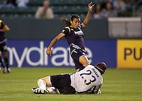 Sky Blue's goalkkeeper Jenni Branam makes a diving save. The LA Sol defeated Sky Blue FC 1-0 at Home Depot Center stadium in Carson, California on Friday May 15, 2009.   .