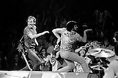 """Rosemont, Illinois<br /> USA<br /> September 8, 1981<br />  <br /> Bruce Springsteen and the E Street Band perform during """"The River Tour"""" at Rosemont Horizon near Chicago. <br /> <br /> The band includes front man - lead singer and song writer Bruce Springsteen """"The Boss"""", guitarist and vocals Steven Van Zandt, drummer Max Weinberg, bassist Garry Tallent, Roy Bittan on keyboards and Clarence Clemons  on saxophone. <br /> <br /> The E Street Band was founded in October 1972, but it wasn't formally named until September 1974. Springsteen has put together other backing bands during his career, but the E Street Band has been together more or less continuously for the past four decades.<br /> <br /> Springsteen is widely known for his brand of Heartland rock, poetic lyrics, and Americana sentiments centered on his native New Jersey.<br /> <br /> Springsteen's recordings have included both commercially accessible rock albums and more sombre folk-oriented works. His most successful studio albums, Born to Run and Born in the U.S.A., showcase a talent for finding grandeur in the struggles of daily American life; he has sold more than 65 million albums in the United States and 120 million worldwide and he has earned numerous awards for his work, including 20 Grammy Awards, two Golden Globes and an Academy Award."""