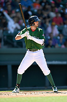 Designated hitter C.J. Chatham (10) of the Greenville Drive bats in a game against the Charleston RiverDogs on Sunday, April 29, 2018, at Fluor Field at the West End in Greenville, South Carolina. Greenville won, 2-0. (Tom Priddy/Four Seam Images)