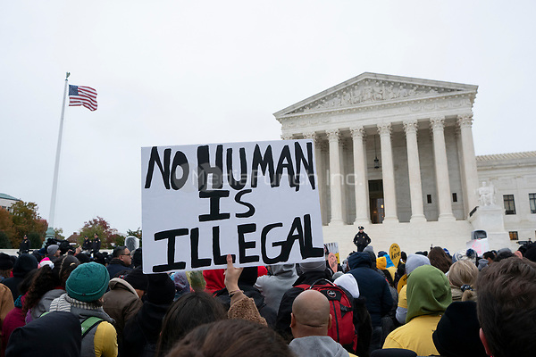 Hundreds of people rally outside the Supreme Court in Washington D.C., U.S. on Tuesday, November 12, 2019, in support of the Deferred Action for Childhood Arrivals program.  The Supreme Court is currently hearing a case that will determine the legality and future of the DACA program.  <br /> <br /> Credit: Stefani Reynolds / CNP /MediaPunch