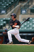 GCL Orioles third baseman Frank Crinella (9) at bat during the second game of a doubleheader against the GCL Rays on August 1, 2015 at the Ed Smith Stadium in Sarasota, Florida.  GCL Orioles defeated the GCL Rays 11-4.  (Mike Janes/Four Seam Images)